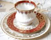 SALE mismatched teacup trio set german porcelain teacup shabby chic multicolor flowers floral tea cup mismatched trio 154