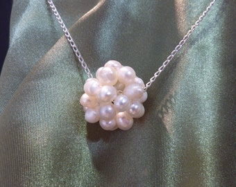 Pearl Cluster Necklace on Sterling Silver
