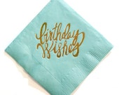 Birthday Wishes Gold Foil Napkins (teal or pink)