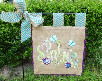 Custom Burlap Garden Flag - Spring - Embroidery Applique - Single sided