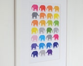 Rainbow Elephants Nursery Print - Bright Unisex Baby Shower Gift. Available in A4, A3, 8 x 10 and 11 x 14 prints