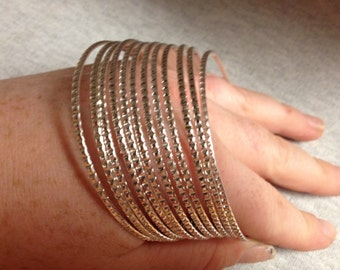 Vintage Silvertone Bracelet Set - Set of 12