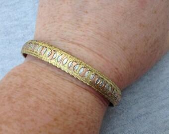 Vintage Sterling Silver Designed Three Toned Bracelet