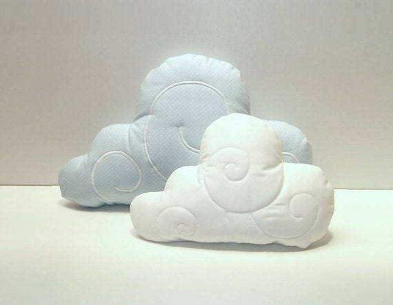 Cloud Pillow Set (2)  - Nursery Decor - Kid Pillow -Light blue polka dot - White