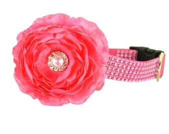 Pink Rhinestone Dog Collar Flower Set,  Dog Collar Flower: Pink on Pink Rhinestone