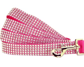 Hot Pink Rhinestone Dog Leash, Dog Lead, Collar and Leash Set: Hot Pink and Silver Rhinestone
