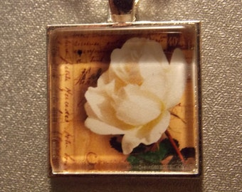 Glass Tile Necklace- White Rose