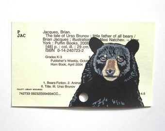 Black Bear Library Card Art - Print of my painting of a black bear on library card catalog card
