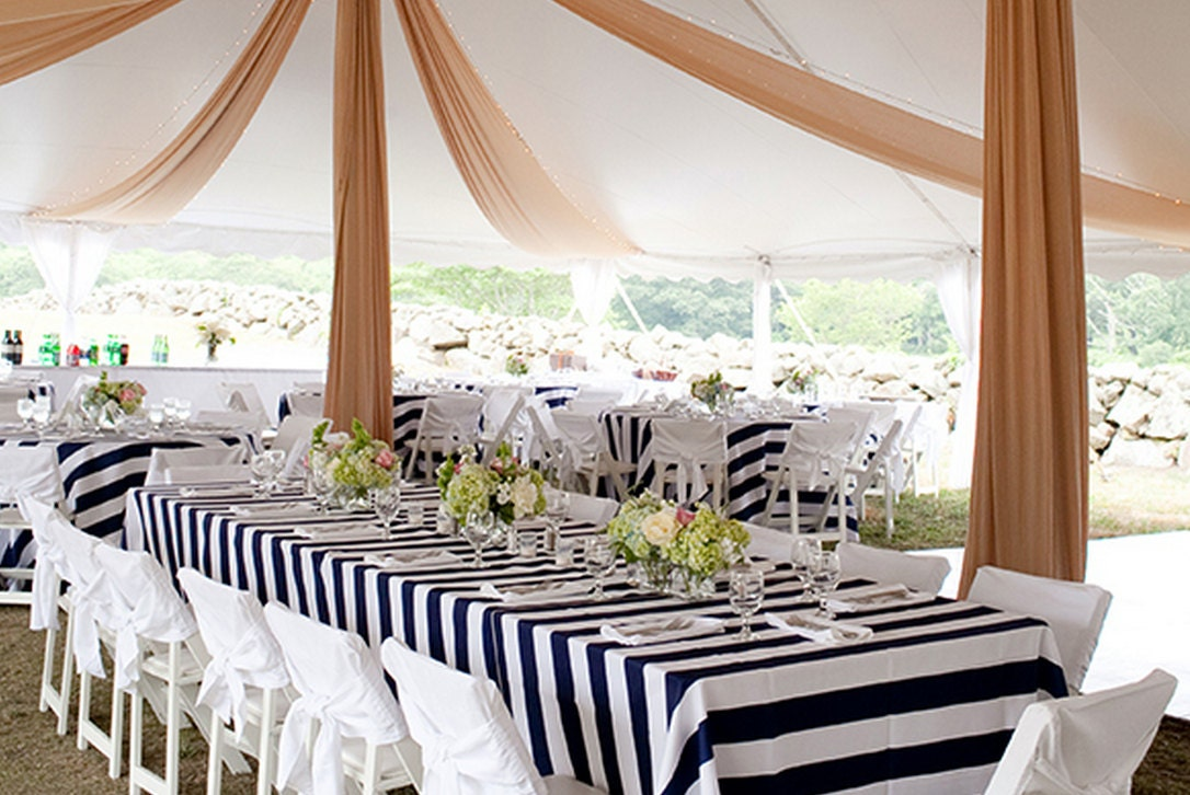 Reserved Listing Black And White Striped Tablecloths For