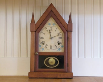 Mahogany Steeple Clock, Steeple Clock, Mantel Clock, New England, American, Gothic Clock, Vintage Clock