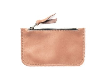 Peach leather coin pouch, leather coin wallet, coin purse