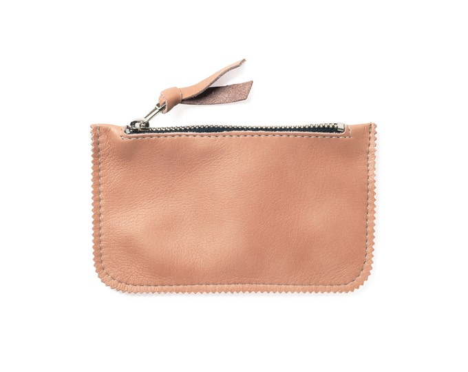 Peach leather coin pouch, leather coin wallet, peach coin purse