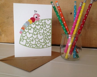 Caterpillar and Leaf 'You Are So Yummy' Card