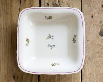 Vintage Bulgarian Porcelain Plate in White with Floral Decoration, 1960s Shabby Chic Kitchen