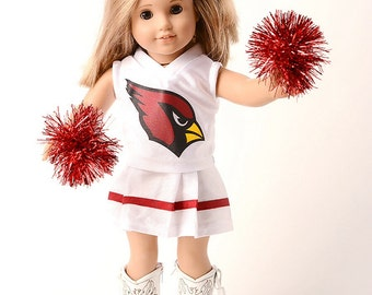 American Girl Doll NFL Arizona Cardinals cheerleader outfit with pom poms