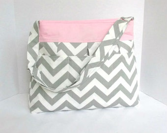 Girl's Chevron Diaper Bag - Large - Grey with Pink - Pleated - Adjustable Strap