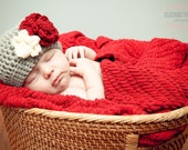 Baby Girl Hat, Toddler Girl Hat, Crochet Flower Hat, Gray, Red, Cream