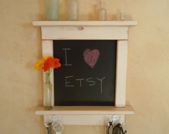 Chalk board Mini With Shelves - Craftsman style country chic with shelves and hooks- Available in 12 Colors