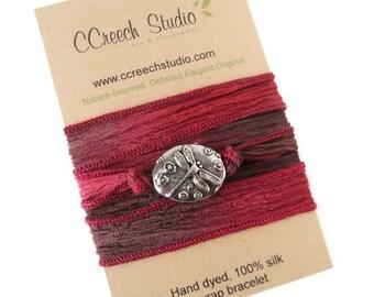 Dragonfly Silk Wrap Bracelet on Red