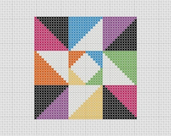 PDF Pattern Cross Stitch Sampler Quilt Block Star Easy Beginner