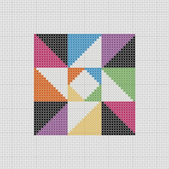 Quilt Patterns Cross Stitch : PDF Pattern Cross Stitch Sampler Quilt Block Star Easy