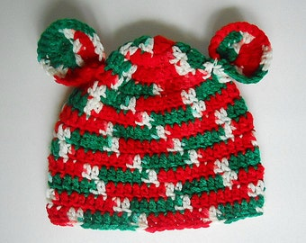 Baby Boy Christmas Hat With Ears 18 Month Old Infant Girl Holiday Cap 9 Month To 2 Years Old Crochet Red Green White Children Winter  Beanie
