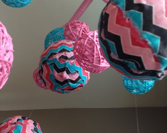 Pink and Turqouise Yarn & Chevron Fabric Ball Baby Mobile