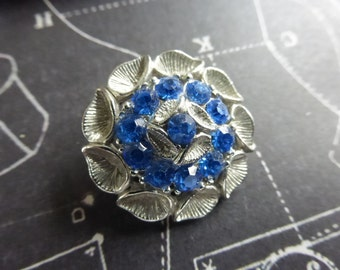 Vintage Silver and Blue Rhinestone Buttons
