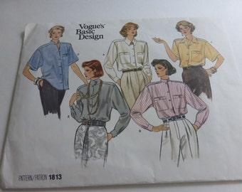 Vintage Vogue Basic Design Pattern 1813 Blouse Misses Multi Size 8-10-12  Factory Fold