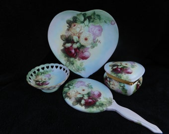 True Romance Vanity Set: Hand decorated Porcelain Garden Rose Bouquet
