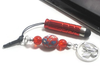 Red Mini Stylus Butterfly Charm - Cell Phone Charm - Stylus Clay Bead Charm - Cell Phone Dust Plug - Tablet Stylus
