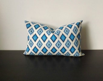 Ikat Pillow Cover, Decorative Throw Pillow, Decor Pillow Blue and White Lumbar -Toss Pillow Accent Pillow, 12x18 Lumbar Pillow