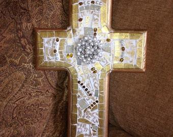 MOSAIC CROSS- BROKEN China - Christian -Broken China Mosaic Large Gold /Cream Cross- Beautiful Vintage Gold / Cream China -