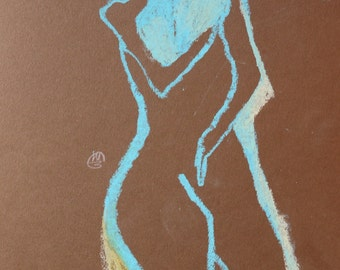 Oil Pastel Drawing Figurative art nude female Woman torso brown turquoise painting