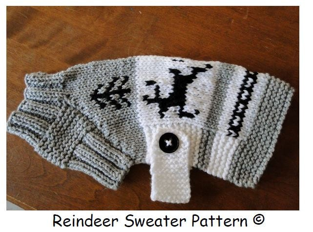 Knitting Pattern Chihuahua Jumper : Dog Sweater Pattern.....Reindeer design