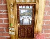 Fairy Door - Brown Graffiti Door w/Wood Stained Trim - Wine Vineyard View