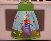 """SPRING TOWEL - Double Layered Hanging Hand Towel - """"Spring Has Sprung"""" with white button & green potholder top"""