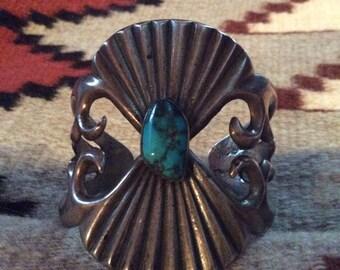 Circa 1970s Heavy Vintage Native American Sand Cast Cuff Bracelet - 87 grams
