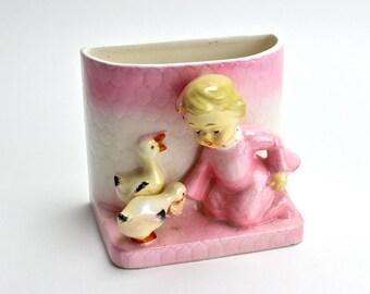 Vintage Relpo Planter, Pink Girl Feeding Ducks, 1950s Planter, Pink Baby Planter, Ducks, Nursery Decor, New Baby, Baby Girl, Epsteam