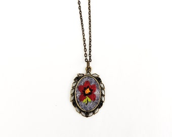 Flower embroidery pendant hand embroidered flower necklace pendant with brass 26 inch chain