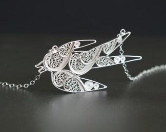 Sterling Silver Sparrow Necklace / Filigree Bird Necklace