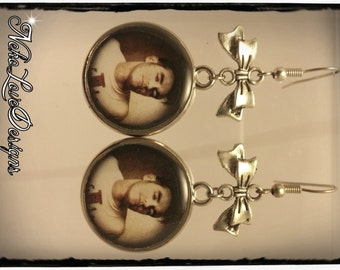 Morrissey Dangle Earrings With Black or Silver Bow