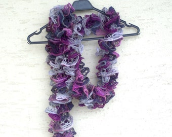 Ruffle scarf, knit ruffled scarf, purple scarf,  gift for her,  fashion accessories, gift for mom, valentines day gift