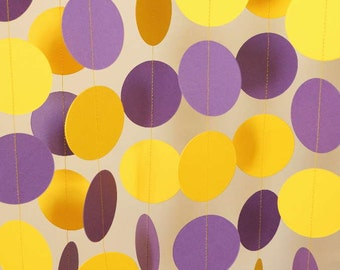 Purple and Yellow (Gold) Garland, Graduation Decoration, Bridal Shower, Birthday Decor, Paper Circle Garland, 10 ft.
