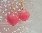 Pink Stone Earrings in Silver or Gold
