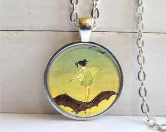 Fairy Pendant, Vintage Art Pendant, Fairy Riding A Bat, Silver and Glass