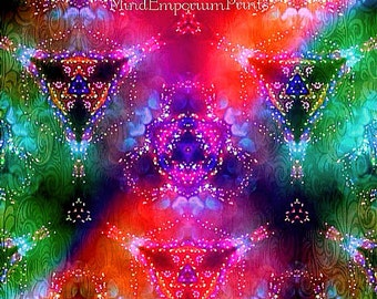 Prana Multi 2 Digital Art Print, Psychedelic Art, Wall Art, Abstract Art, Zen Art, 60's Art