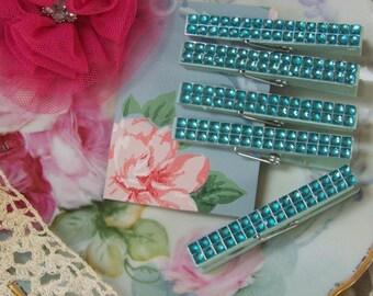 Blue Rhinestone Clothespins, Clothespin Sets, Fancy Clothespins, 5 Clothespins, Shabby Style, Cottage Chic, Romantic Clothespins Set, Blue