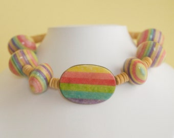 Striped Limestone and Brass Buckle Wooden Bead Choker Necklace 1970s Vintage
