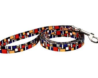 Mondrian Fashion Dog Leash - Made From Recycled Webbing